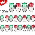 10 Pairs Red & Green Boat Vertical Mount 12V LED Navigation Light Side Marker QE