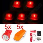 5x Amber Cab Marker Covers w/ 5 RED LED w/ Wiring Switch Pack for 90-97 Ford