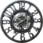 Gear Wall Clock 22 Inch Round Home Decor Antique Retro Vintage BH&G Black New