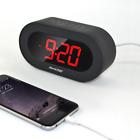 Snooze & Time Setting Digital Alarm Clock Charging Station Dual USB Port Black