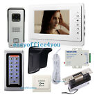 7' Night Vision Video Door Phone intercome Password Open Door ANSI Strike Lock
