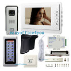 "7"" TFT Video Door Phone Intercome Systems Password Open Door & Magnetic Lock PSU"