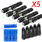 5PACK 532nm 1mw Green Laser Pointer Pen Visible Beam Lazer Battery +Charger USA