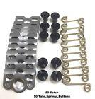 "7/16"" Aluminum Black Dzus Button Quarter Turn / Springs / Tab Plate RZR 50 PCS"