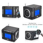 August Mb300 Mini Wooden Mp3 Stereo System And Fm Clock Radio, With Card Reader,