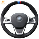 Black Leather Black Suede Car Steering Wheel Cover For BMW 220i 218i 225xe