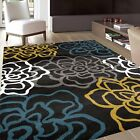 """Rugshop Contemporary Modern Floral Flowers Area Rug, 5' 3"""" x 7' 3"""", Yellow/Gray"""