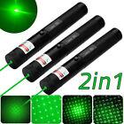 3PCS Military 10Miles 532nm 303 Green Laser Pointer Lazer Pen 2in1 Beam Light