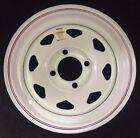 "Dexstar Steel Spoke Trailer Wheel 12"" x 4"" Rim 4 Lug White Powder Coat"