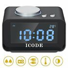 Alarm Clock Radio,ICODE Digital Alarm Clock with FM Radio,5 Dimmer, Dual USB LCD