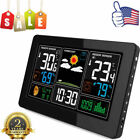 Wireless LCD Color Weather Station Hygrometer Thermometer Alarm Clock+ Sensor US