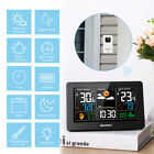 Wireless LCD Color Weather Station Hygrometer Thermometer Clock Humidity Alarms