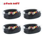 4PACK 60FT Security Camera System BNC Cable  Video Power Wire RCA for AHD DVR