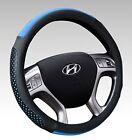 15-inch Microfiber Leather Car Steering Wheel Cover Universal No-Slip Black-Blue