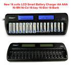 US/EU/UK/AU Plug 16 slots LCD Smart Battery Charger AA AAA Ni-MH Ni-Cd 16-bays