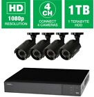 Surveillance Security Cameras 4-Channel 1080p HD Night Vision Weather-Resistant