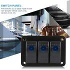 3 Gang Car Marine Boat BLUE LED Switch Panel Splashproof Rocker Switch Panel