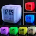 Digital Alarm Clock 7 Color Glowing LED Cube Time Data Week Temperature Display