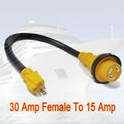 Marine 30AMP female to 15AMP male 15A 125V Shore Power Pigtail Boat Adapter 60cm