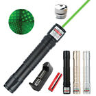One Military Green 1mw Powerful Laser Pointer Pen Light Beam Burn +18650 Battery