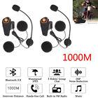 2PCS1000m BT-S2 Bluetooth Motorcycle Helmet Headset Intercom Waterproof FM Radio