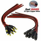 [Real 18AWG 43x2pcs Wires] 10 Pairs DC Power Pigtail Cable, 12V 5A Male & Female