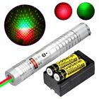 50Miles Green + Red Laser Pointer Pen 2IN1 Visible Beam + 18650 Battery +Charger