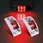 2x Sealed Chrome Armored LED Trailer Clearance LED Side Marker Light Red 12V