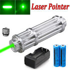 Top Military 532nm Green Laser Pointer Lazer Pen Beam + 2*18650 battery +Charger
