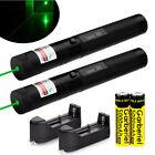 2pcs 532nm 303 Green Visible Beam Light Teachers Pointer Lazer Pen 18650&Charger