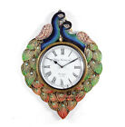 WallClock Hand MadeTraditional Rajasthani Hand Painted Wooden Peacock Shape -472