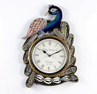 WallClock Hand MadeTraditional Rajasthani Hand Painted Wooden Peacock Shape -470