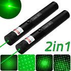 2PC 10Miles 303 Green Laser Pointer Lazer Pen 532nm Visible Beam Light +Star Cap