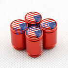 Red Sport Auto Accessories USA US Flag Wheel Tyre Stem Valve Tire Air Valve Caps