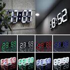 Modern Digital 3D White LED Wall Clock Alarm Clock Snooze 12/24 Hour USB UM