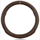 Upgrades Real Leather Pinhole Car 38CM Steering Wheel Cover For Lincoln Coffee