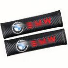 2X Carbon Fiber Leather Car Seat belt Cover Shoulder Pads Cover Fit For BMW
