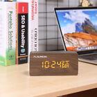 Wooden LED Cube Digital Desk Alarm Clock 3 Brightness Adjustable Voice Control