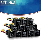 12 PCS DC 12V Car Automotive Relay 5 Pin 5 Wires w/Harness Socket 30/40 Amp