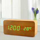 Digital Alarm Clock LED Wooden Electronic Monitor Sound Control Thermometer Home