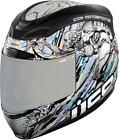 Icon Airmada Mechanica Robot Motorcycle Street Helmet Silver Blue X-Small XS
