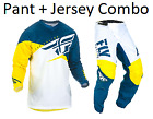 New 2019 Fly Racing F-16 Pant + Jersey combo  Yellow/White/Navy Adult kit