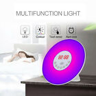 LED Natural Wake Up Clock Simulation Alarm Night Light Sunrise Digital FM Radio
