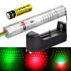 2in1 Green + Red Laser Pointer Lazer Pen Zoom Visible Beam Light 18650 Charger