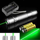 50Miles 532nm Green Light Laser Pointer Pen Zoomable Lazer +2*18650 +Charger