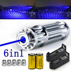 Military 1-W 450nm High Power Blue Laser Pointer Visible Beam Light Pen + 5 Caps