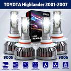 9006 9005 High/Low Beam Combo LED Headlight Kits For Toyota Highlander 2001-2007