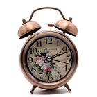 4 Inch Vintage Metal Alarm Clock Silent Desk Table clock with Backlight for kids