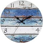 """Rustic Beach Wall Clock 12"""" Round, Silent Non Ticking - Battery Operated, Wooden"""