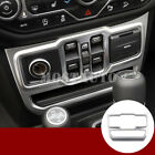 For Jeep Wrangler JL Silver Console Window Switch Button Cover Trim 2018-2019